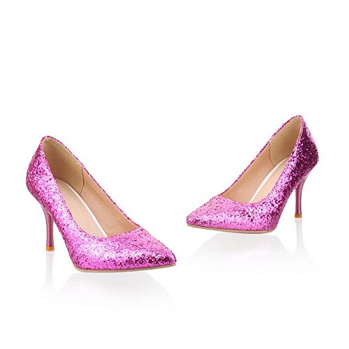Purple Closed PU Stiletto High Toe Solid WeiPoot Pumps Sequin Women's Pointed Frosted 5OqPx
