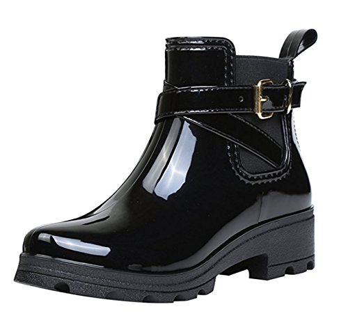 SAGUARO Short Rain Ankle Boots Wellington Chelsea Shoes for Women Ladies Black