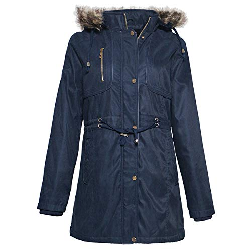 Facitisu Womens Winter Warm Jacket Long Down Faux Fur Hooded Quilted Sherpa Lined Coat