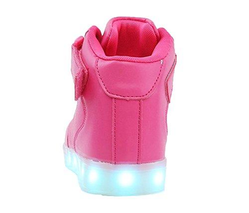 All Et Chaussures Adultes Clignotant Enfants Haut dessus Pour De Sport Chargement Led Les Usb Tuluo Pink Tw67xgqF