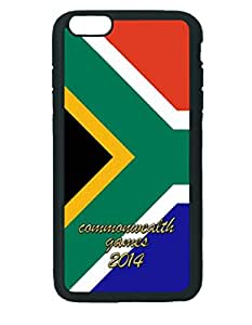 South Africa Commonwealth Countries Pattern Silicone Rubber Non-slip Protective Cover Case Skin For Apple iPhone 6 Plus 5.5 inches , Black Case