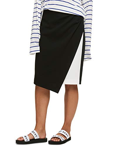- DKNY Asymmetrical Colorblocked Skirt (Black Ivory, 16)