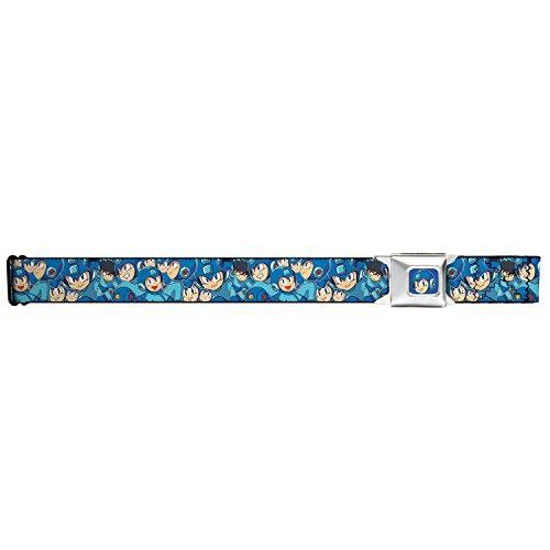 [Mega Man Seatbelt Belt - MegaMan Expressions Stacked Webbing] (Megaman Hat)