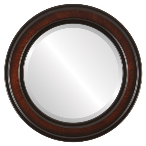 Round Beveled Wall Mirror for Home Decor - Wright Style - Vintage Cherry - 28x28 outside dimensions Cherry Heirloom Vanity