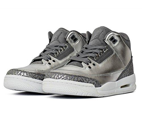 Jordan Air 3 Retro Premium Chrome Heiress casual sneakers youth metallic silver/cool grey New AA1243-020 - 3.5