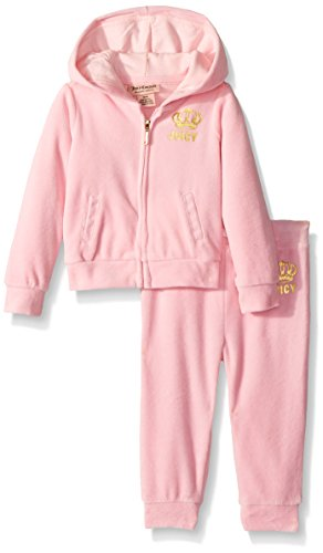 Juicy Couture Pink Tracksuit (Juicy Couture Baby Girls' 2 Piece Velour Hooded Jacket and Pant Set, Light Pink, 12 Months)