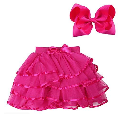Buy A Tutu (BGFKS 4 Layered Tulle Tutu Skirt for Girls with Matching Hairbow,Girl Ballet Tutu Skirt (Rose, 5-7)