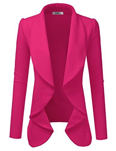 DOUBLJU Classic Draped Open Front Blazer for Women with Plus Size Fuchsia 2X (Fuschia Dresses)
