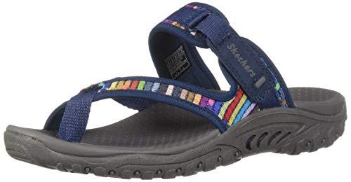Skechers Women's Reggae-MAD Swag-Toe Thong Woven Sandal, Navy, 7 M ()