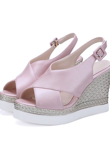 LFNLYX Zapatos de mujer-Tacón Cuña-Cuñas / Punta Abierta / Plataforma / Talón Descubierto-Sandalias-Exterior / Casual / Vestido-PU-Negro / Rosa almond