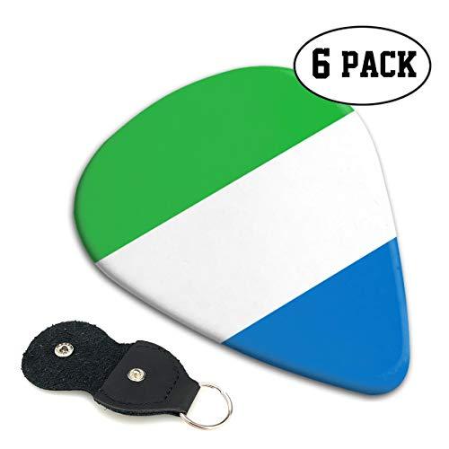 (Chion 351 Shape Classic Celluloid Flag of Sierra Leone Guitar Picks 6 Pack)