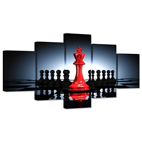 (Hello Artwork Modern Black and Red King and Knight Chess Large 5 Pieces HD Pictures Print Poster Canvas Prints Wall Art Stretched and Framed for Home Chess Game Room Decoration Ready to Hang)