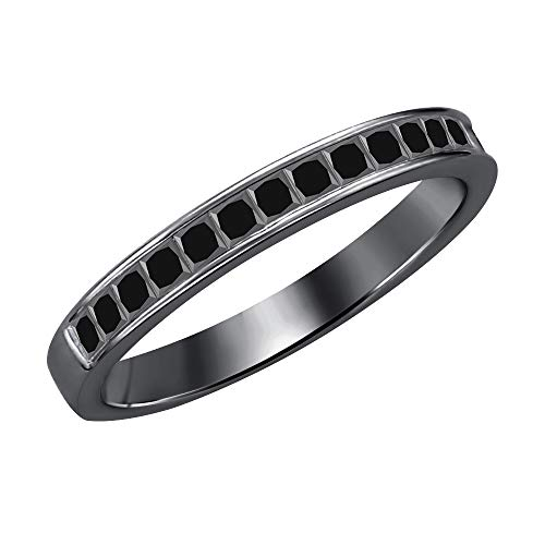 (tusakha 1.10ctw Princess Cut Black Diamond Half Eternity Wedding Band Ring for Men's 14k Black Gold Plated 925 Sterling Silver)