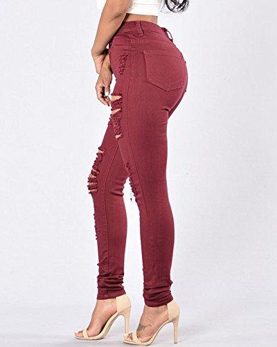 Pantaloni Denim Donna Matita In Elastico Leggings Strappati Jeans Rosso Zhuikun Vino Vita Alta Scarni q0RzBz