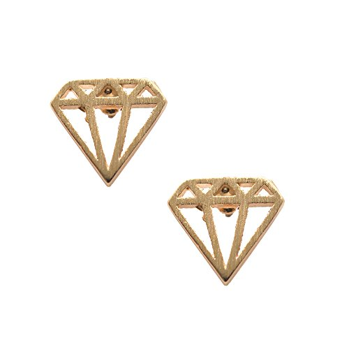 Spinningdaisy Handcrafted Brushed Metal Diamond Shape Earrings Gold Diamond Shape Post Earrings