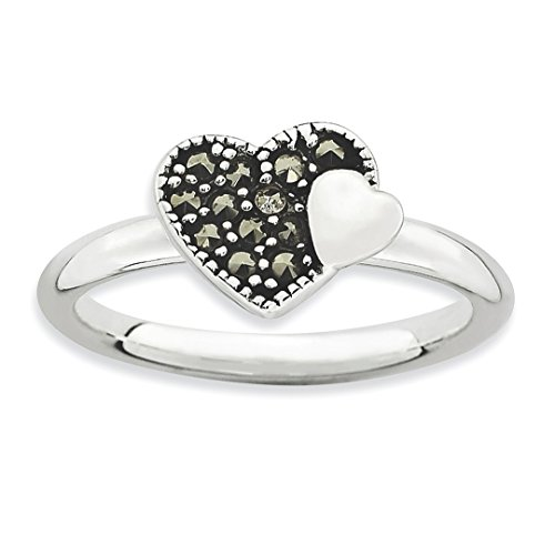 (925 Sterling Silver Marcasite Heart Band Ring Size 6.00 S/love Stackable Gemstone Fine Jewelry Gifts For Women For Her)