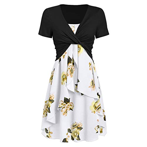 Pleated Bow - Dresses for Women Casual Summer Short Sleeve Bow Knot Cover Up Tops Sunflower Print Strap Midi Dress Pleated Sun Dresses (XX-Large, Z-4 Black White)