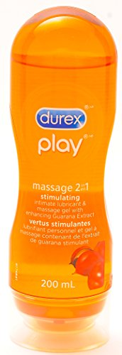 Durex Play Massage 2 in 1 Stimulating Intimate Lubricant & Massage gel with Enhancing Guarana Extract, 6.76 Fl Oz