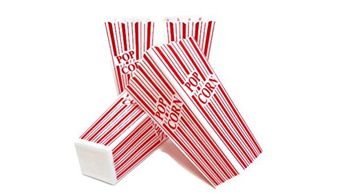 (Popcorn Containers, Plastic Red & White Classic Movie Popcorn Containers, by Playscene (4, Red & White))