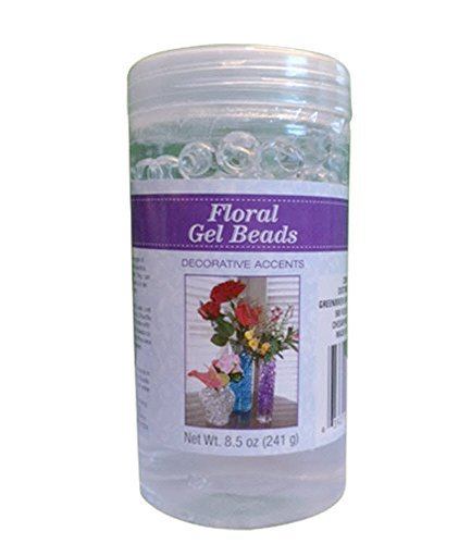 Clear Floral Hydrated Gel Beads 8.5 Oz Jar Vase Filler Ready To Use Transparent Crystal Florist Arrangements (Floral Beads)