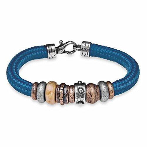 Platadepalo MB1C-Bracelet en nylon couleur Bleu Argent 925 et résines Bronze