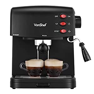 VonShef 15 Bar Pump Espresso Coffee Maker Machine – Create Espressos – So far so good. Would like to see a deeper funnel so