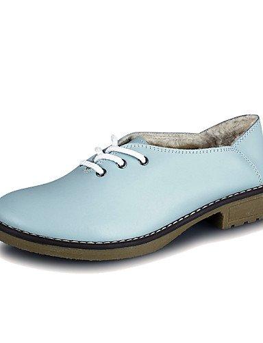 Blue Hug 5 us5 Uk3 Cn35 Uk6 cuero Mujer comfort De Zapatos Eu36 us8 Cn39 Eu39 tacón 5 oxfords Bajo Blue exterior Zq azul Casual 7wU6Fqd7