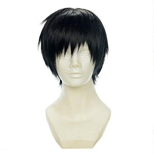[Cfalaicos Mens / Boys Natural Daily Hair , Durarara Orihara Izaya Cosplay Costume Wig Short Layered Black] (L Costume Death Note)