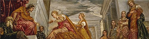 Oil Painting 'Tintoretto Jacopo Robusti The Queen Of Sheba And Salomon 1555 ' Printing On High Quality Polyster Canvas , 16 X 60 Inch / 41 X 153 Cm ,the (Eric And Ariel Halloween Costumes)