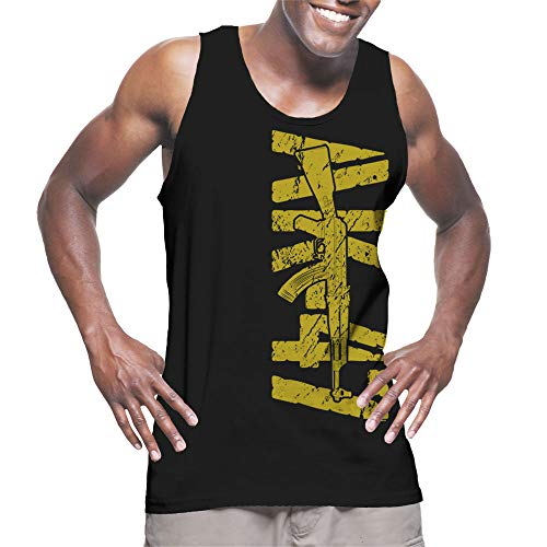 HAASE UNLIMITED Men's Gold AK-47 Tank Top (Black, Small)