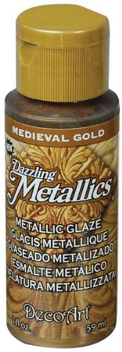 DecoArt Dazzling Metallics Glazes Paint, 2-Ounce, Medieval Gold