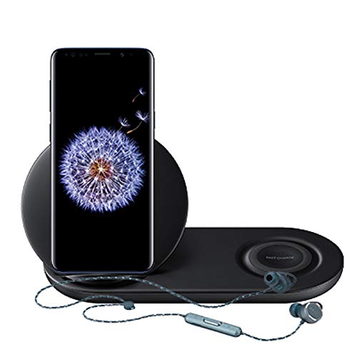Samsung Galaxy S9+ Unlocked Smartphone with Black Wireless Charger Duo and AKG N200 Bluetooth Earbuds (Notebook Samsung Cellphone)