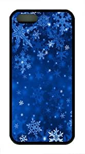 Blue Snowflakes TPU Silicone Case Cover for iPhone 5/5S Black