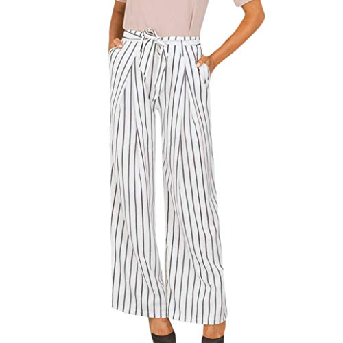 (Creazrise Womens Loose Striped Belt Casual Pleated Wide Leg Long Trouser Palazzo Pants with Elastic Band White)