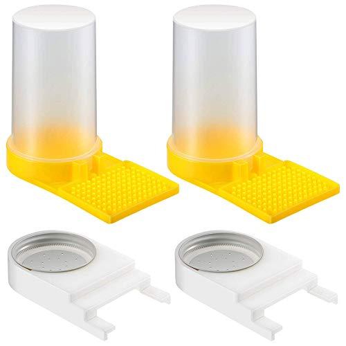 Weforu 2 Stück Bienenstock Imker Feeder mit perforiertem Deckel Kunststoff und 2 Stück Bienenwasser Zucker-Fütterer Bienenstock Trinkschüssel