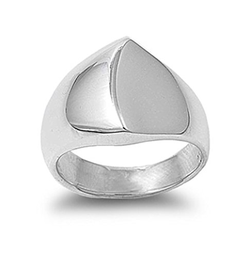 Sterling Silver women dome Ring, 15mm (8)