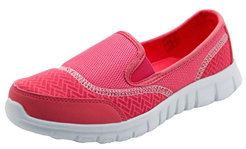 Ladies Mesh Breathable Slip on Running Trainers Pumps Shoes Pink UTjGMTX