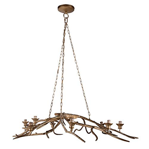 Branch Gold Tree (Benzara BM154181 Tree Branch Style 8-Light Chandelier, Gold)
