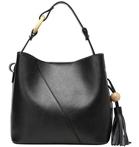 el y Negro hembra simple Borla verano de HEMBRA Bolsa bolso bolsa silvestre cuero cuchara Bolsa de primavera La TwpST