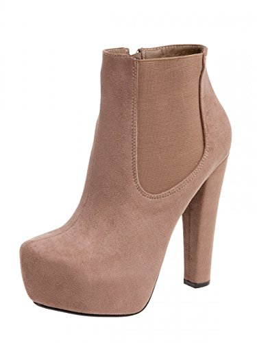 CASPAR SBO077 Women Platform High Heels Khaki