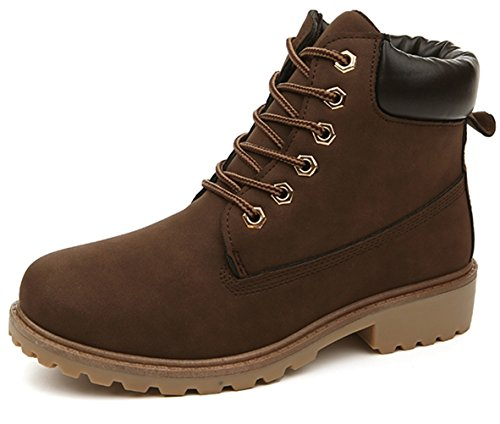 DADAWEN Women's Lace Up Low Heel Work Combat Boots Waterproof Ankle Bootie Brown US Size ()