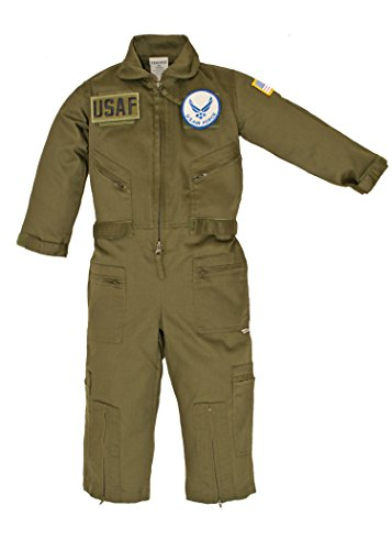 Kids Military Pilot Airman OD Green Flight Suit USAF Patches X-Small (4-5) (Airmans Girl)
