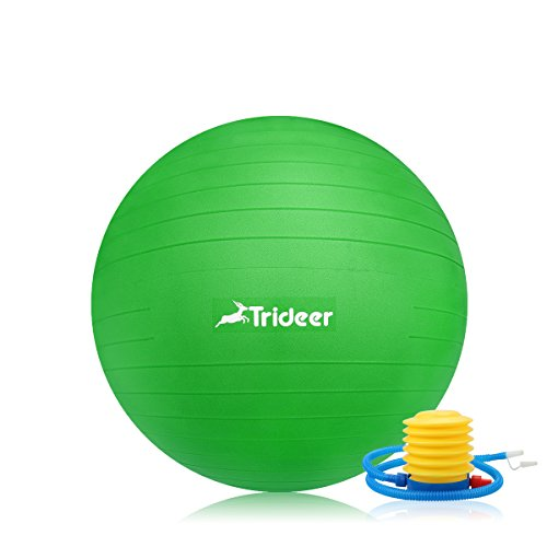 Exercise Ball, Yoga Ball, Birthing Ball with Quick Pump, Anti-Burst & Extra Thick, Heavy Duty Ball Chair 45cm 55cm 65cm 75cm 85cm Stability Ball Supports 2200lbs (Office&Home) (Lime, 45cm) by Trideer (Image #1)