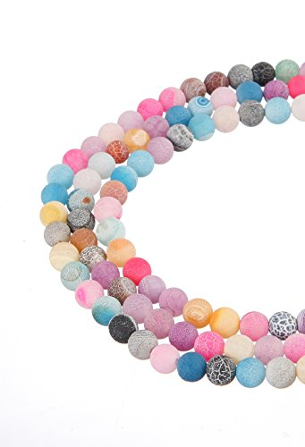 wanjin rainbow Frosted Agate 8mm Gemstone Smooth Matte Round Loose Beads Jewelry (Rainbow Stone Bead)