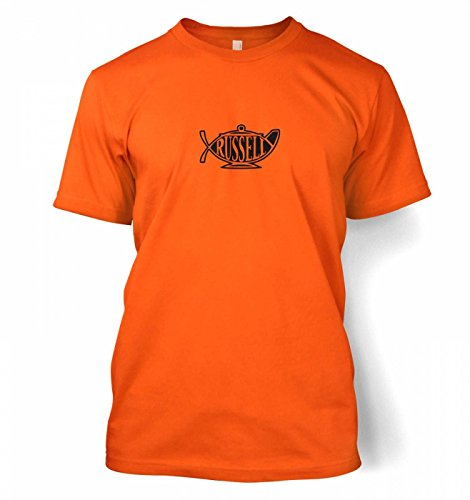 "Bertrand Russell Teapot Ichthys T-shirt - Orange X-Large (46/48"")"
