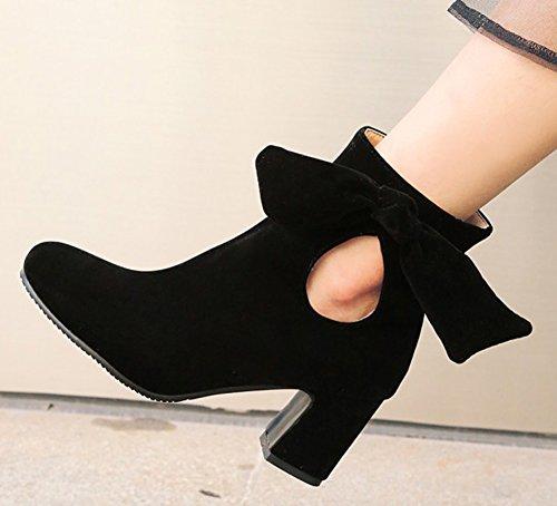 Aisun Womens Élégant Habillé À Lintérieur Zip Up Bout Rond Bottines Chunky Talon Haut Cheville Bottes Chaussures Avec Des Arcs Noirs