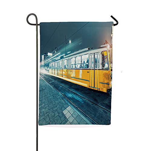 iPrintsophierhome Garden Banner Outdoor Flag Flags,City Center Vintage Urban Train Station European,Holiday Decorations Outdoor Garden Decoration Digital Printing -