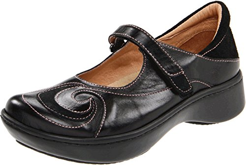 Naot Women's Sea Mary Jane Flat, Black Madras/Black Suede, 39 EU/8 M-W US