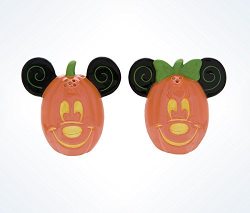 Disney Parks Mickey Minnie Mouse Pumpkin Halloween Salt Pepper Shakers -