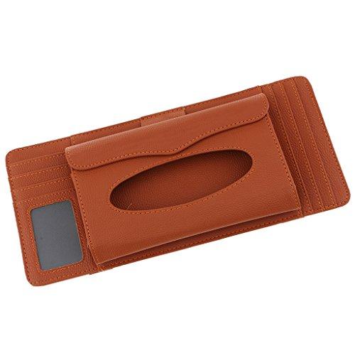 (Homyl Premium 3 In 1 CD DVD Pouch Bag Glasses Holder Case with Tissue Box for Car Sunshade Visors 14Inch -)
